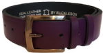 "38mm Bucklebox Purple Leather Belt with Detachable Buckle 1½"" wide"
